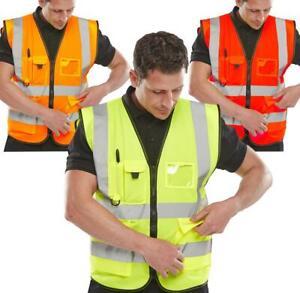 Hi Viz Executive Waistcoat Zip Up High Visibility Safety Vest Reflective Vis