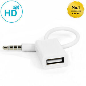 3.5 mm Klinke male AUX-Audio Stecker auf USB Adapter Kabel Auto KFZ (NEU)