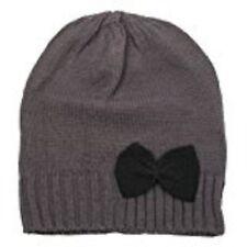 Moderna Mujer Gorro de punto invierno sombrero con lazo talla única Gris