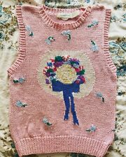 Vintage 70s Eagles Eye Sweater Vest Pink Size Medium Cottage Core