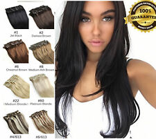 EXTRA THICK 170G Clip In 100% Real Human Hair Extensions  Double Wefted
