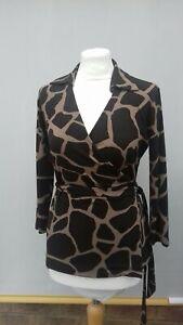 Ann Taylor Top Size Petite chest 28inch wrap style brown/khaki animal print