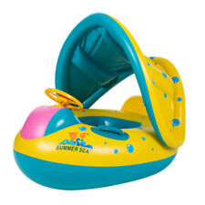 Baby Swim Ring Inflatable Blue Toddler Float Swimming Pool Water Seat Canopy US