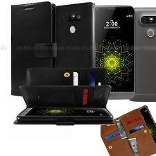 For LG V40 V30 V20 / G6 G7 Case Double Leather Wallet Card Holder Dual Flip Case