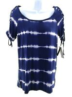 French Laundry Women Blue and White Tie Dye Striped Short Sleeve Top Casual