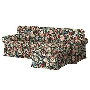 NEW IKEA EKTORP Slipcover for Sofa w/Chaise LINGBO Floral 104.033.41 Cover