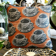 Warm Rust Double Sided Teacup & Saucer Cushion With Piping  Created by thetinkan