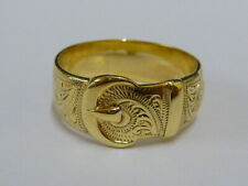 Gents Stunning 9ct Gold Patterned Buckle Ring - Size Z