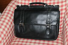 NEW Kenneth Cole NY LEATHER Double Gusset Dowel Rod Business Case Briefcase $450