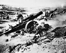 New 8x10 World War I Photo: Elevated Mobile Mount British Guns at The Front