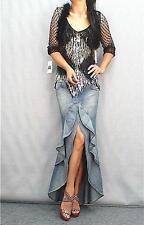 Hot Womans Women Jeans Light Denim Fish Tail Ultra Maxi Long Skirt Plus size sz