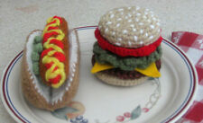 Handmade Crochet HAMBURGER & HOT DOG pretend PLAY FOOD amigurumi TOY