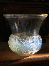 Rene Lalique Renoncules Opalescent Glass Piriac Vase,1930. Etched LALIQUE FRANCE