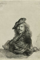 Rembrandt Self Portrait Leaning On A Stone Sill Etching Poster 12x18 inch