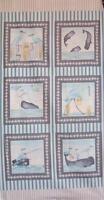 Barnacle Bay Whale Herons Beach Studio E Debi Hubbs Fabric Block Panel