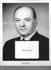 Dean Rusk Autograph 54th Secretary State JFK Johnson China Burma India Theate