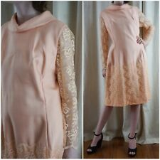 6a2cfbe0 Vintage 60s Peach Pink Lace Mod Career Work Sheath Dress L XL