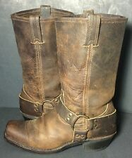 FRYE 77300 Brown Leather Harness Motorcycle Boot 12r Women Size 10