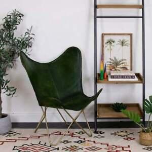 Handmade Green Buffalo Leather Butterfly Chair Lounge Relax Arm Chair Home Décor