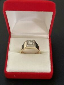 14K Yellow And White Gold .28ct Diamond Mens Ring Size 9.5