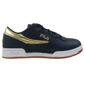 Big Kids Fila Original Fitness Navy White Gold Casual Sneaker Shoes