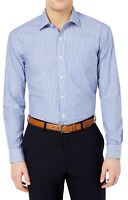 Club Room Mens Dress Shirt Blue Size 18 Striped Performance Button Down $55 189