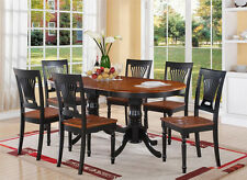 7pc Plainville oval double pedestal dining table + 6 wood chairs in cherry black