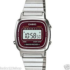 LA670WA-4D Silver Red Casio Stainless Steel Band Watch Lady Stopwatch Alarm New