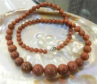 "6-14mm Galaxy Staras Gold Sand Sun Gems Round Beads Necklace 18"""