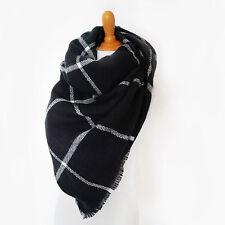 Plaid Blanket Scarf Tartan Plaid Scarf Black Checkered Blanket Scarf