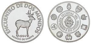200 Silver PESOS - Silver Series Iberoamericana. Venado. Uruguay 1994. Proof