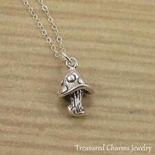 925 Sterling Silver Mushroom Charm Necklace - Vegetable Shroom Pendant Jewelry