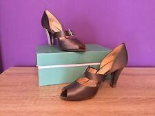 Women's Clarks Steel Band Dark Grey Shoes. Peep Toe, Heel, Buckle, UK Size 4 D