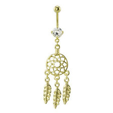 Dream Catcher Belly Button Ring 14g Surgical Steel Gold  Plating