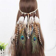 AWAYTR Tribal Style Feather Boho Headband Beads Cute Masquerade Fancy Dress Hair