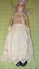 "14"" ANTIQUE GERMAN BISQUE,  DOLL, GERMANY  CLOTH BODY"