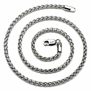 AmyRT Jewelry 4mm Titanium Steel Wheat Silver Chain Necklaces for Men & Women 20