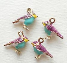 4pcs-3D enamel purple Bird charm 17mmX14mm-more colors