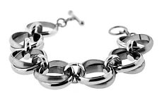 "STAINLESS STEEL POLISHED AND BRUSHED ROUND LINK TOGGLE BRACELET, 7.5"" LONG"