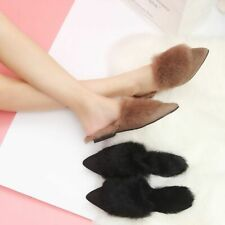 Fashion Women Slippers Winter Faux Fur Slides Sewing Cute Warm Plush Mules Solid