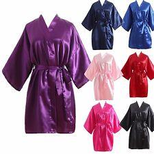 Hot Solid Women robe Silk Satin Robes Wedding Bridesmaid Bride Gown kimono robe
