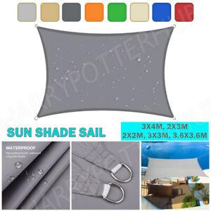 Heavy Duty Waterproof Sun Shade Sail Grey Gray Square Rectangle 98% UV Block AU