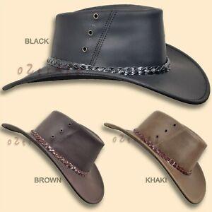 【oZtrALa】 Oiled KANGAROO Leather Hat Cowboy Western Outback Mens Golf AUSTRALIAN