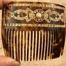 Antique Tortoiseshell Hair Comb 22kt Gold Inlaid Rhinestones Victorian