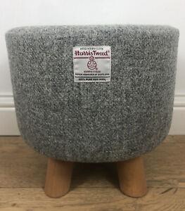 New Footstool made with Light Grey Harris Tweed Fabric