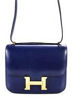 Hermes Constance Bolso de Mano Azul Caja De Tono Oro Correa de piel de becerro cuatro bolsillos uno