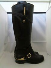 RIVER ISLAND 100% LEATHER BLACK LOW HEEL RIDING KNEE BOOTS SIZE 4 RRP £100