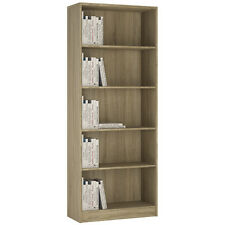 Ferrer Modern Oak Effect Tall Wide Bookcase / Bookshelf Shelving