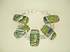 AB One-of-a-Kind Yellow Green Blue Calsilica Bracelet Wrist Chain Silver 7.5-8""