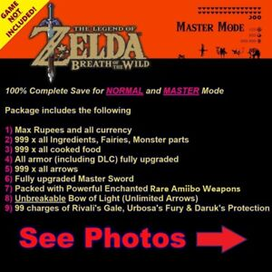 The Legend of Zelda Breath of the Wild (Switch Save Edit) Service, NOT A GAME